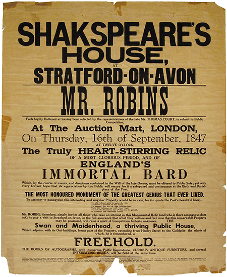 Shakspeare's House Auction Poster, 1847